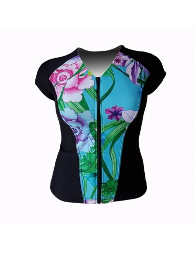 Slimline V Neck Original, Cap Sleeve - Water Garden