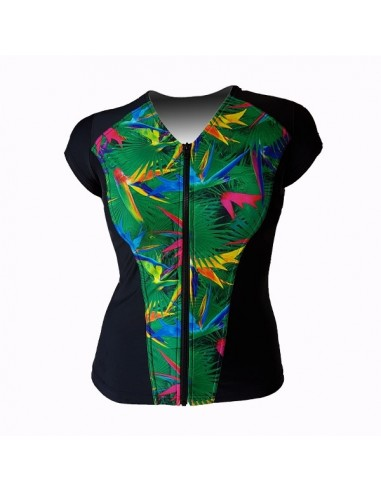Slimline V Neck Original, Cap Sleeve - Tropical Paradise