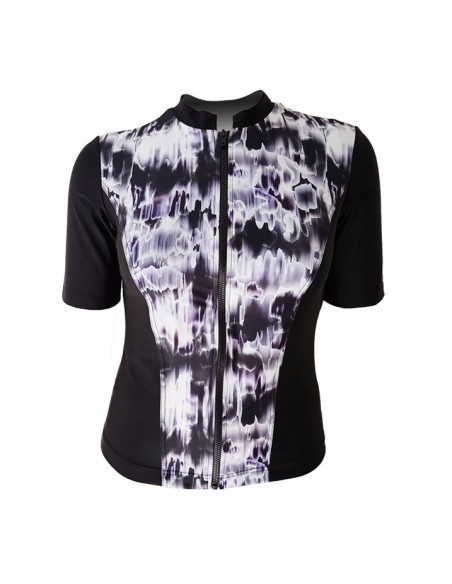 Slimline Hi-Neck, Elbow Sleeve - Black & White Watermark contrast print
