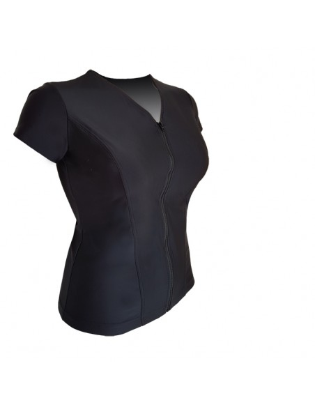Slimline V Neck Original, Cap Sleeve - Plain Black