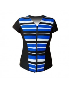 XXL Slimline V Neck Original, Cap Sleeve - Retro Stripe