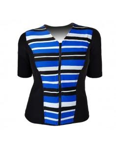 Slimline V Neck Original, Elbow Sleeve - Retro Stripe