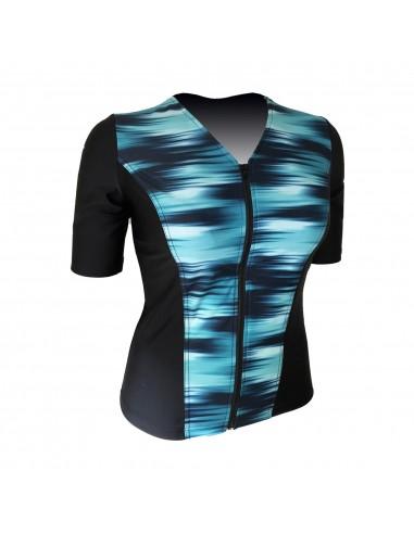 Slimline V Neck Original, Elbow Sleeve - Turquoise Batik print