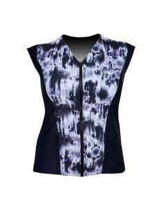 Slimline V Neck Original, Sleeveless  - Black and White Watermark print