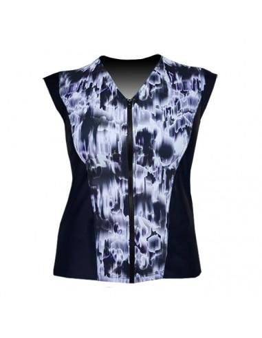 Slimline V Neck Original, Sleeveless  - Black and White Watermark print