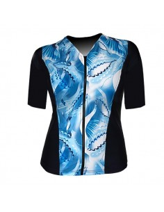 Slimline V Neck Original, Elbow Sleeve - Island Dreaming  print