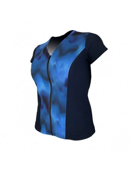 Slimline V Neck Original, Cap Sleeve - Navy with Sea Mist print
