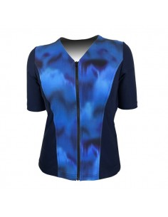 Slimline V Neck Original, Elbow Sleeve - Navy with Sea Mist print