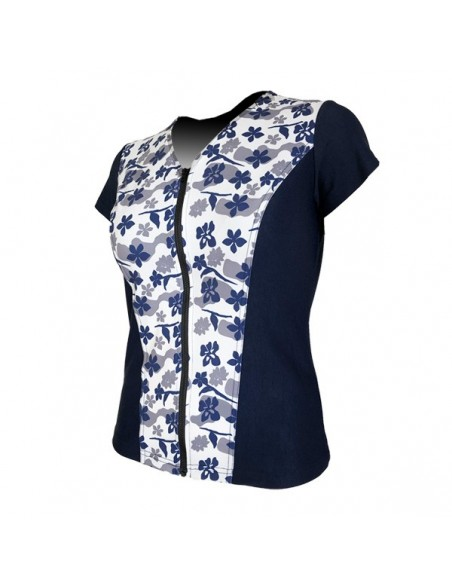 Slimline V Neck Original, Cap Sleeve - Navy with Hibiscus print
