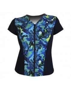 Slimline V Neck Original, Cap Sleeve - Navy with Banshee Blue print