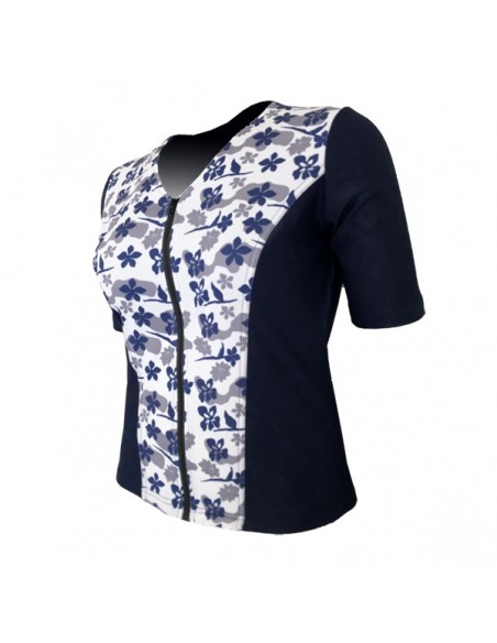 Slimline V Neck Original, Elbow Sleeve - Navy with Hibiscus print
