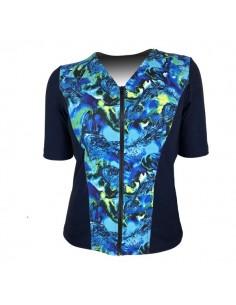 Slimline V Neck Original, Elbow Sleeve - Navy with Banshee Blue print