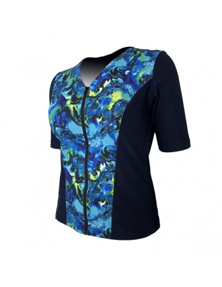 Slimline V Neck Original, Elbow Sleeve - Navy with Banshee Blue print
